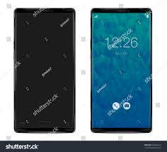 Modern Smartphone Thin Frames Black Color Stock Vector