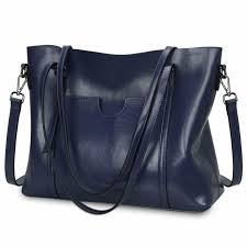 yaluxe women s large capacity leather work tote zipper closure shoulder bag bags for