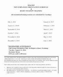 new employee orientation schedule training schedule template excel beautiful training new employees