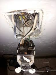 code bathroom wiring: notice the old stab in connections for the wires these friction style wiring connections are code approved but also can fail after