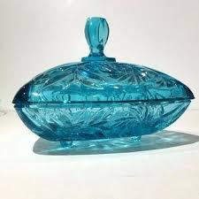 blue glass candy dish with lid footed covered vintage
