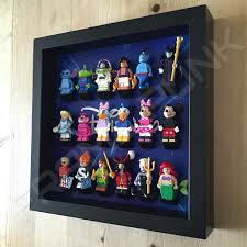 disney starry black frame lego display with minifigures side view
