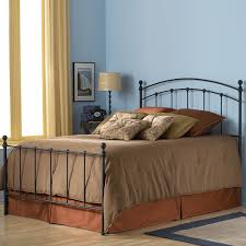 Amazon.com: Sanford Complete Bed with Metal Panels and Round Finial Posts,  Matte Black Finish, Queen: Kitchen & Dining