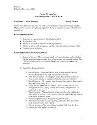 Stock Clerk Job Description For Resume Endearing Retail Stock Clerk Resume Sample Also Of Grocery Store 23