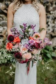 Scabiosa Floral Design Gathered Style Wedding Bouquet Jewel Tones Dahlias Piano