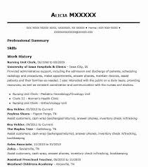 Hospital Unit Clerk Resume Resume Examples Hospital Unit Clerk Health Unit Clerk Resume