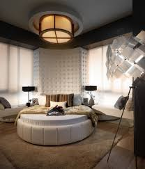 bedroom modern lighting. Modern White Round Waterbed With Flush Mount Ceiling Lighting Also Tall Headboard Bedroom