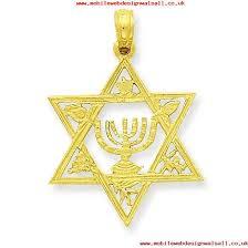 14k yellow gold polished flat back textured back star of david with menorah pendant 1 2 grams