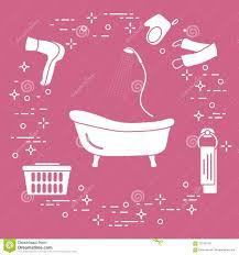 Bad Dusche Trockner Waschlappen Tuch Korb Vektor Abbildung
