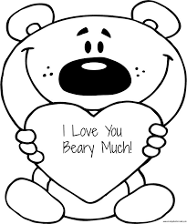 Small Picture FREE Valentines I Love You Beary Much Coloring Page Printable