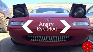 Pop Up Lights Diy Cheap Angry Eye Mod 1990 1997 Mazda Miata Mx 5 Pop Up Flippy