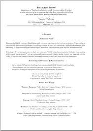 Resume Examples For Restaurant Server