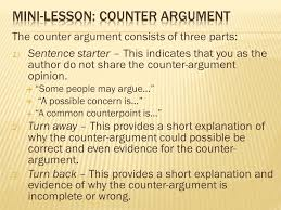 yesterday  understand or paraphrase the essay question  the counter argument consists of three parts 1 sentence starter this indicates that