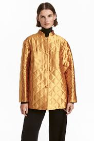 Quilted Jacket - Gold-colored - Ladies | H&M CA & Quilted Jacket - Gold-colored - Ladies | H&M ... Adamdwight.com