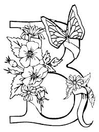 Small Picture Alphabet Flowers with Butterfly Letter B Coloring Pages Batch