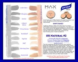 Max Factor Pan Stick Colour Chart Graftobian Cake Foundation Colors For Skin Tone