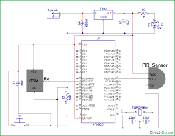 gsm circuit diagram ireleast info pir sensor and gsm based home security system using 8051 wiring circuit