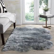 Safavieh Sheepskin Collection SHS121B Genuine Pelt Steel Blue Premium Shag Rug 3u0027 X 5u0027  Walmartcom