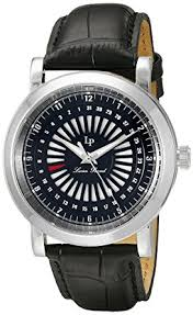 amazon com lucien piccard men s ruleta quartz stainless steel lucien piccard men s ruleta quartz stainless steel and black leather casual watch model