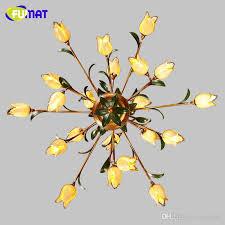 fumat glass flowers chandeliers american artistic yellow glass shade suspension lights living room european art deco chandeliers foyer pendant lighting