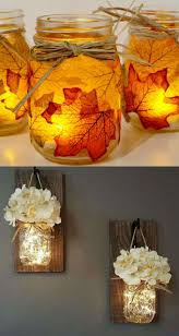 Diy mason jar lighting Diy Country Kitchen These Batter Powered Led String Lights Would Be Perfect For The Decoupages Leaf Jars Or The Hanging Mason Jar Vases Source Lost Piece Of Rainbow Diy Mason Jar Lights 25 Best Tutorials Kits Supplies Page