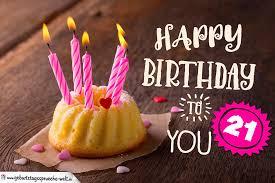 Happy Birthday Karte Zum 21 Geburtstag Mit Kuchen