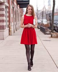 loft red dress. ann taylor loft red holiday dress, target dot print tights, zara pumps, rebecca dress e