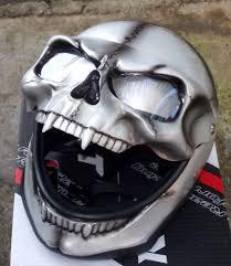 silver skull skeleton visor ghost rider fullface motorcycle helmet