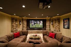dark media room. Now That\u0027s What I\u0027m Talking About! Basement Media Room/family Room. Large Dark Brown Sectional Sofa, Screen Wall Mounted TV And Stacked Stone. Room