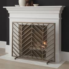 Chevron Brass Fireplace Screen in Fireplace Accessories + Reviews | Crate  and Barrel