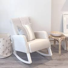 white rocking chair. Fine Chair Rocking Chair White Wood  Oatmeal Linen On