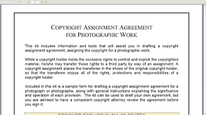 Copyright Assignment Agreement For Photographic Work - Youtube