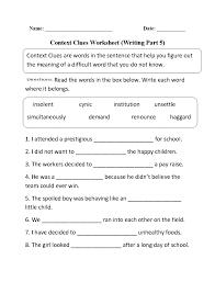 Context Clues Worksheet Writing Part Intermediate Multiple Word ...