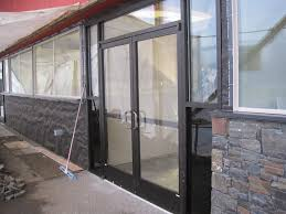 Exterior Design: Compelling White Storefront Door Design With Clear ...