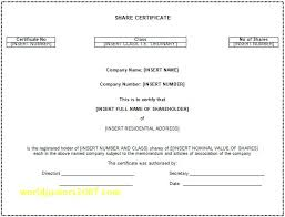 Corporate Share Certificate Template Stock Templates Free Sample ...