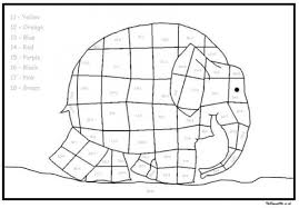 Elmer Elephant Additions Color By Number Coloring Page Coloring Home