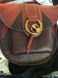 nwt auth 428 frye ilana color block gold ring saddle cross leather bag