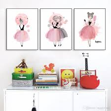 2018 watercolor girls canvas art prints nursery poster wall pictures for girls illustration children baby room decoration giclee wall decor from maggiequan  on wall art prints baby room with 2018 watercolor girls canvas art prints nursery poster wall pictures