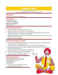 Mcdonalds Resume 12 Surprising Design 3 16 Free Cashier Samples In  Microsoft Word