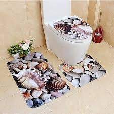 generic 3pcs set cute creative 3d sea ocean fish shell animals bathroom rug toilet lid