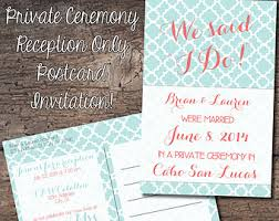 reception only etsy Wedding Reception Only Invitations 4x6 postcard reception only invitation eloped, reception only, destination wedding, announcement wedding reception only invitations wording