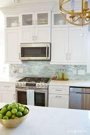 white and sea glass coastal kitchen makeover backsplash lunada bay tile in agate lucca