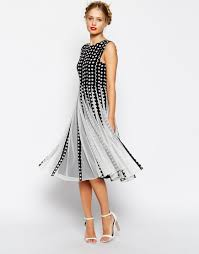 asos spot mesh insert fit and flare midi dress asos com the Wedding Guest Dresses Uk Summer 2014 870 × 1110 in wedding guest dress ideas Beach Wedding Dresses for Guests