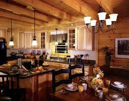 casual log cabin homes interior kitchen decoration using solid unfinished wood kitchen cabinet including black granite kitchen counter tops and small drum