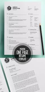One Page Resume Templates Modern 50 Best Resume Templates For 2018 Design Graphic Design