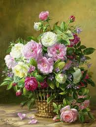 still life painting roses by albert williams