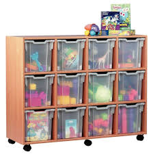 modern minimalist wooden kids storage furniture with roller and eight plastic transpa storage boxes for storing