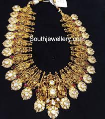 Gold Polki Necklace Designs Antique Gold Polki Haram Indian Jewellery Designs