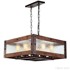 rustic kitchen island light 8 light square wood and metal pendant lighting with water glass panels retro industrial chandeliers adjule glass light