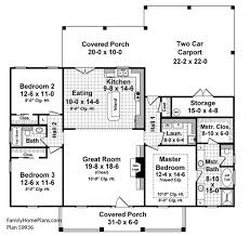 open front porch on small country house floor plan 59936 by family home plans